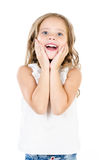 Portrait of surprised happy adorable little girl Royalty Free Stock Photo