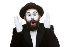 Portrait of the surprised and joyful mime with Stock Image