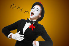 Portrait of the surprised and joyful mime with open mouth Royalty Free Stock Photos