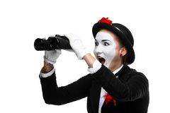 Portrait of the surprised and joyful mime with Stock Photos