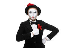 Portrait of the surprised and joyful mime Royalty Free Stock Photo