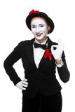 Portrait of the surprised and joyful mime Royalty Free Stock Images