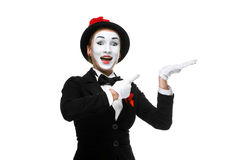 Portrait of the surprised and joyful mime Royalty Free Stock Image