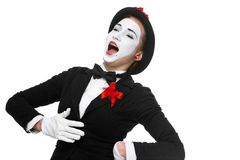 Portrait of the surprised and joyful mime with Royalty Free Stock Images