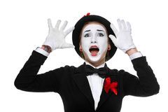 Portrait of the surprised and joyful mime with Stock Photo