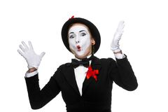 Portrait of the surprised and joyful mime with Royalty Free Stock Image
