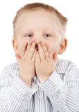 Portrait of a surprised little boy Stock Images