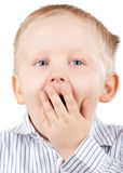 Portrait of surprised little boy Stock Image