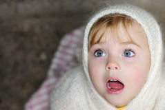 Portrait of the surprised little girl. In a white scarf Royalty Free Stock Photos