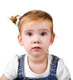 Portrait of surprised little girl Stock Images
