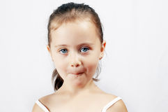Portrait of a surprised little girl royalty free stock photo