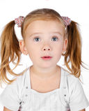 Portrait of surprised little girl isolated Stock Images