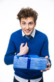 Portrait of a surprised man with gift Royalty Free Stock Photos