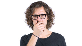 Portrait of surprised man in Glasses with Curly Hairs. Portrait of surprised man in Glasses, high quality Stock Photo