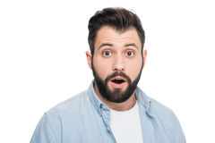 Portrait of surprised man looking at camera Royalty Free Stock Images