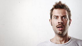 Portrait of a surprised man with mustache Royalty Free Stock Image