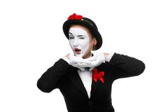 Portrait of the surprised mime with a grimace on Stock Photo