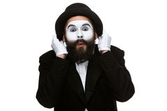 Portrait of the surprised mime Stock Photos