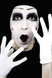 Portrait of the surprised mime in white gloves Stock Images