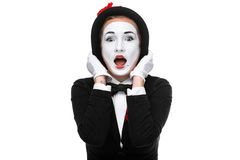 Portrait of the surprised mime Royalty Free Stock Photography