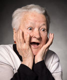 Portrait of surprised old woman Royalty Free Stock Photos