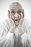 Grandma with open mouth Stock Images