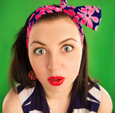 Portrait surprised pin-up girl Stock Photography