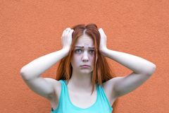 Surprised red hair girl royalty free stock photo