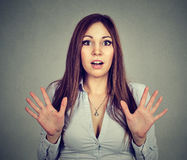 Portrait of a surprised shocked young woman royalty free stock images