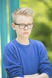 Portrait surprised teenager boy outdoor Royalty Free Stock Photography