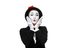 Portrait of the surprised and touched mime Stock Images