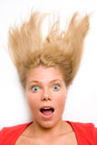 Portrait of surprised woman. Over white background Stock Photos