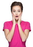 Portrait of the surprised woman face Royalty Free Stock Photo