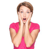 Portrait of the surprised woman face Stock Image