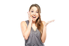Portrait of surprised woman over white background Royalty Free Stock Photography