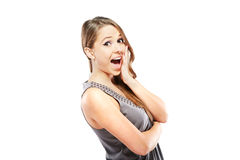 Portrait of surprised woman over white background Royalty Free Stock Images