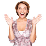 Portrait of surprised woman with positive emotions Royalty Free Stock Photos