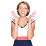 Portrait of surprised woman with positive emotions Royalty Free Stock Photo