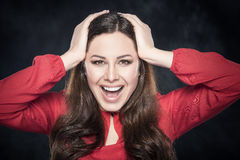 Portrait of surprised woman. Stock Image