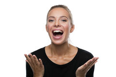 Portrait of surprised woman on white background Royalty Free Stock Photography