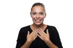 Portrait of surprised woman on white background Royalty Free Stock Image