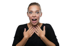 Portrait of surprised woman on white background. Portrait of surprised beautiful blond woman on white background Stock Photo