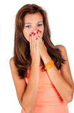 Portrait of surprised young pretty woman Royalty Free Stock Photos