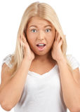 Portrait of surprised young woman Stock Photo