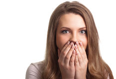 Portrait of a surprised young woman Stock Photography