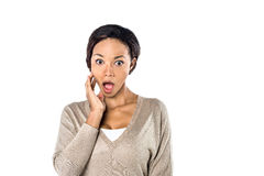 Portrait of a surprised young woman Royalty Free Stock Photos