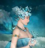 Portrait surréaliste d'une femme avec les papillons bleus illustration libre de droits