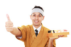Portrait of a sushi chef Royalty Free Stock Images