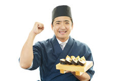 Portrait of a sushi chef Royalty Free Stock Photo