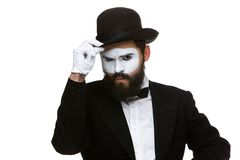 Portrait of the suspicious mime Royalty Free Stock Photos